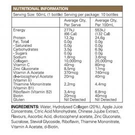 Collagen Beauty Renew Shots Nutritional Information